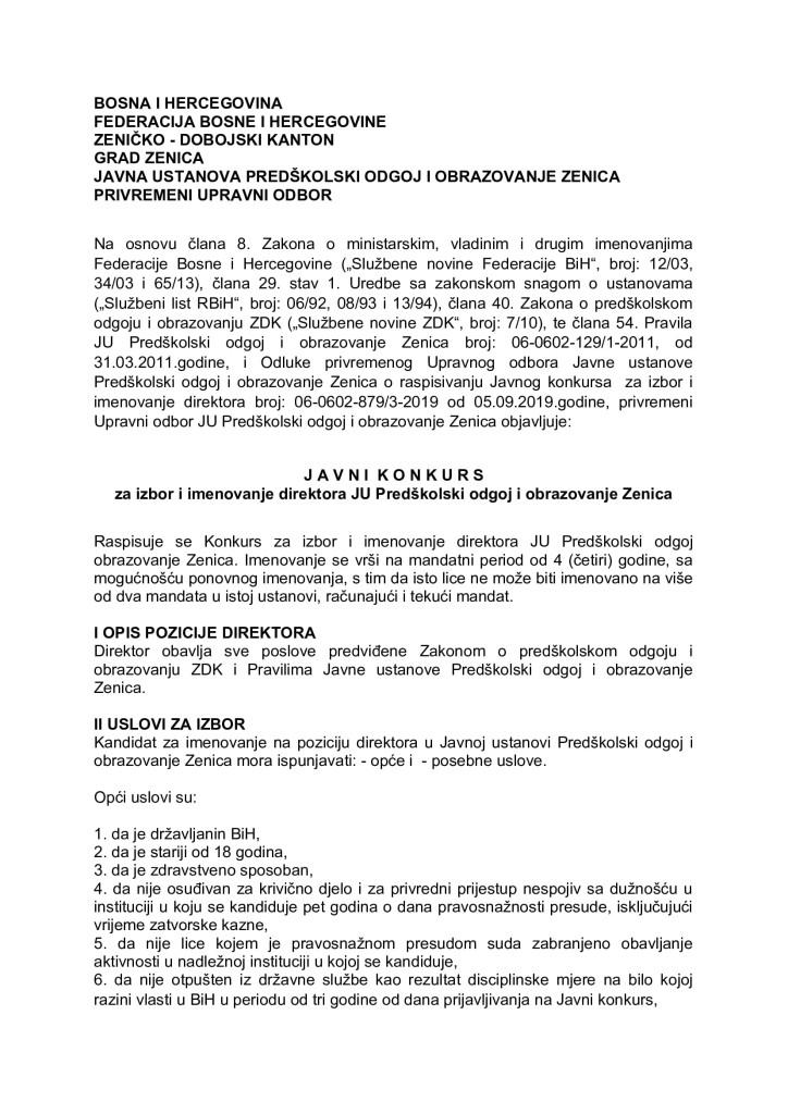 Konkurs za izbor i imenovanje direktora JU Predškolski odgoj i obrazovanje Zenica_000