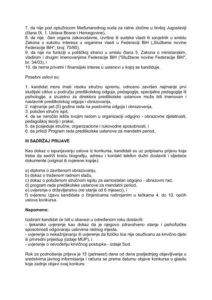 Konkurs za izbor i imenovanje direktora JU Predškolski odgoj i obrazovanje Zenica_001