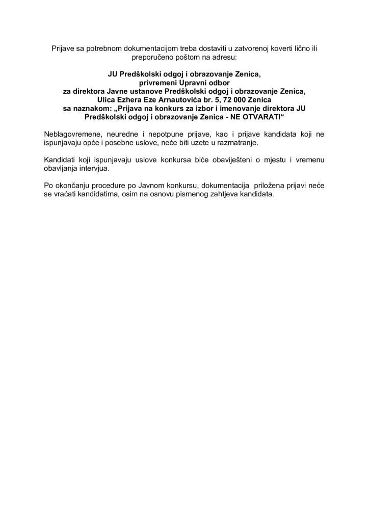 Konkurs za izbor i imenovanje direktora JU Predškolski odgoj i obrazovanje Zenica_002